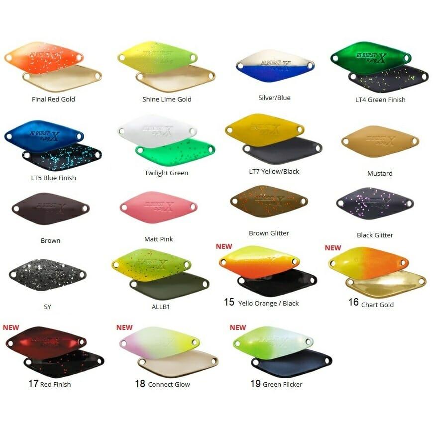 tabella colori hi burst x ross valkein 4fishing